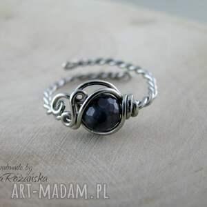 handmade pierścionki pierścionek regulowany szafir, wire