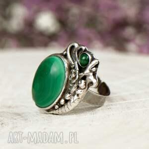 szare pierścionek malachit srebrny z malachitem