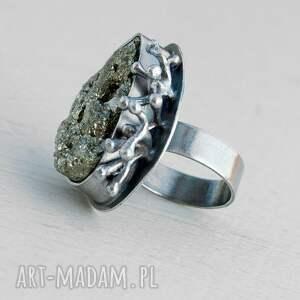piryt pierścionki złote pierścionek srebrny z surowym