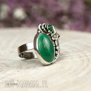 pierścionek srebrny zielone z malachitem