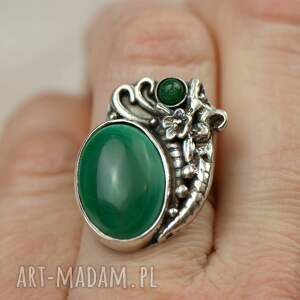 zielony pierścionek srebrny z malachitem