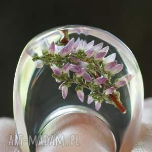 natura pierścionki zielone pierścionek transparentny z gałązką