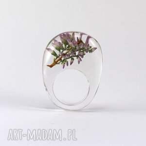 wyjątkowe pierścionki natura pierścionek transparentny z gałązką