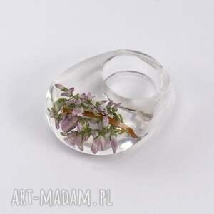 wyjątkowe pierścionki wrzos pierścionek transparentny z gałązką