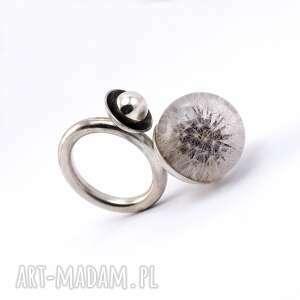 dmuchawiec pierścionek z dmuchawcem, żywica