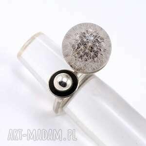 białe dmuchawiec pierścionek z dmuchawcem, żywica