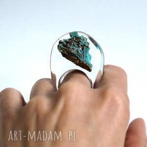 brązowe minerał pierścionek z minerałem,