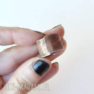 srebrne pierścień pierścionek z oksydowanej miedzi