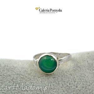 srebrny pierścionki pierścionek z zielonym onyksem