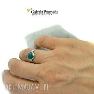 pierścionki srebrny pierścionek z zielonym onyksem