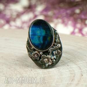 turkusowe pierścionek z-kamieniem ze srebra z sylimanitem