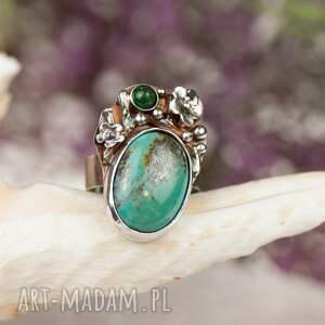 szare pierścionek z-turkus pirytowy turkus w kwiatach