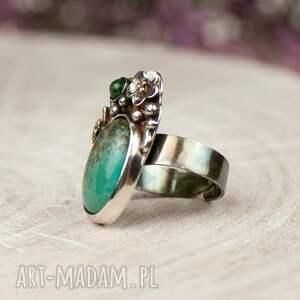 pierścionek srebrny pirytowy turkus w kwiatach