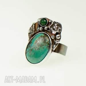 pierścionek srebrny zielone pirytowy turkus w kwiatach