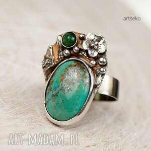 pierścionek prezent pirytowy turkus w kwiatach