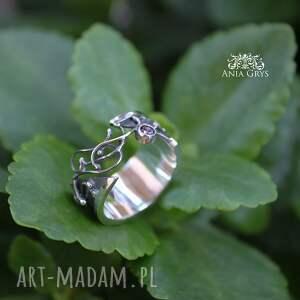 srebrne pierścionki pierścionek półotwarty z cyrkonią