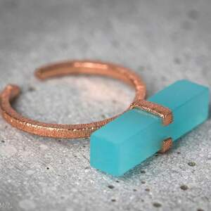 pierścionki kamień 925 /18k pozłacany pierścionek aqua