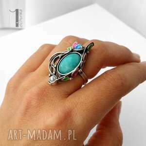 Primavera srebrny pierścionek z amazonitem i perłą - amazonit