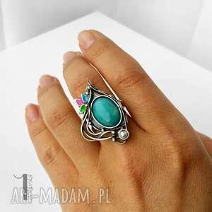 Primavera srebrny pierścionek z amazonitem i perłą - amazonit metaloplastyka