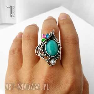 srebro pierścionki turkusowe primavera srebrny pierścionek