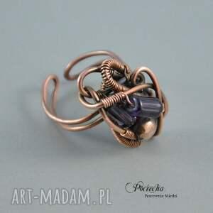 fioletowe pierścionek purple - w