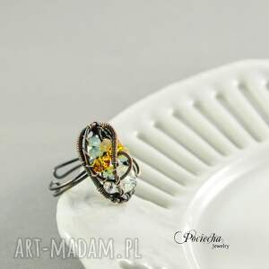 turkusowe pierścionki miedź ratri - pierścionek