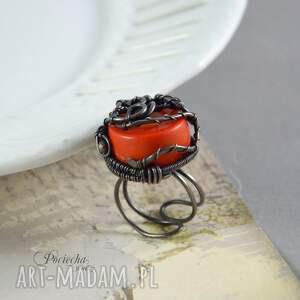 pierścionek czerwone red coral