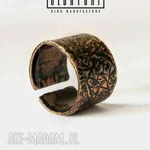 pomarańczowe pierścionki tekstura regulowany pierścionek handmade