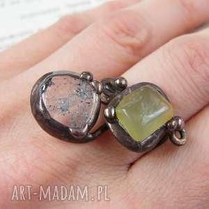 białe miedziany regulowany pierścionek: z jadeitem
