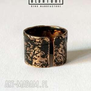 wyjątkowe pierścionki tekstura regulowany pierścionek handmade