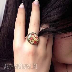 ręcznie zrobione pierścionki retro róże - pierścionek regulowany