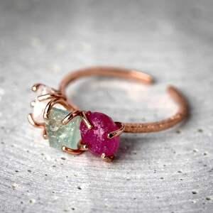 ręcznie zrobione pierścionki kamień 925 /18k różowo pozł. Pierścionek