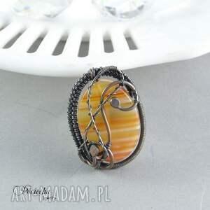 pierścionek pomarańczowe rubeus - duży z agatem