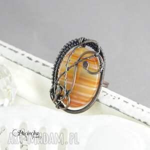pierścionek rubeus - duży z agatem