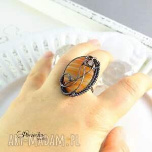 czerwone prezent rubeus - duży pierścionek z agatem