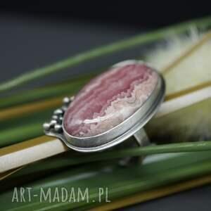 BranickaArt szare srebro skromny rodochrozyt - pierścionek