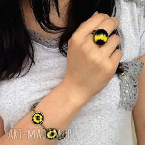 hand-made pierścionki słonecznik - pierścionek regulowany