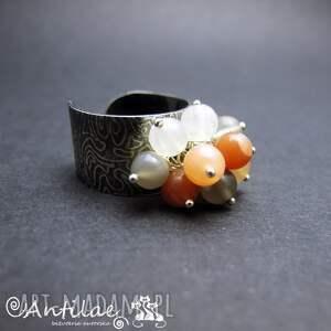 pierścionek pierścionki pomarańczowe soleado - srebro, kamień księżycowy