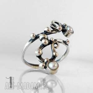 eleganckie pierścionki srebro sorbus i z perłą srebrny
