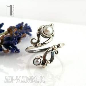 szare pierścionki perły sorbus z perłą srebrny pierścionek