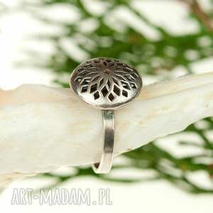 pierścionki pierścionek-srebrny srebrny, ażurowy oksydowany