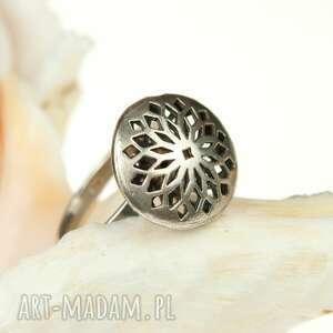 szare pierścionki pierścionek-srebrny srebrny, ażurowy oksydowany