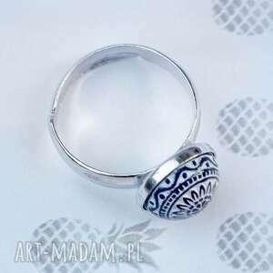 srebro niebieskie srebrny pierścionek regulowany