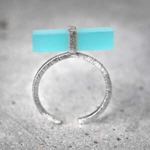 pierścionki chalcedon 925 srebrny pierścionek aqua