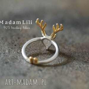 upominek świąteczny 925 srebrny pierścionek poroże