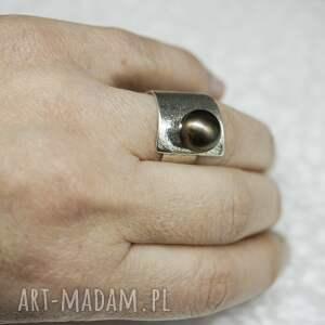naturalna srebrny pierścionek z perłą - black