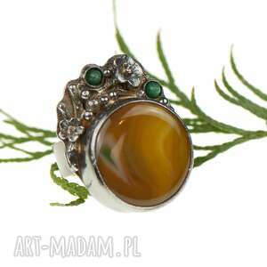 pierścionek-srebrny pierścionki żółte srebrny pierścionek z okwieconym