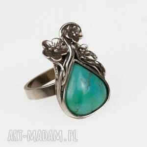 pierścionki pierścionek-z-turkus srebrny pierścionek z okwieconym