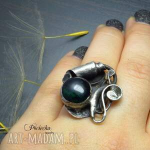 cyna szmaragdowy mrok - pierścionek
