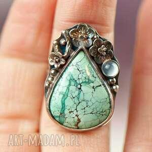 urokliwe pierścionek turkus turkusowa łza w kwiatach